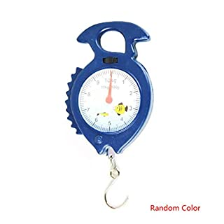 Kongnijiwa Home 10kg Fish Shape Weighing Hanging Scale Household Luggage Handheld Numeral Pointer Spring Balance Random Color