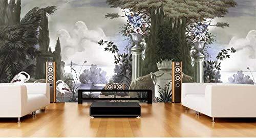 Papel Pared Pintura De Pared Papel Tapiz Mural Pintado A Mano De La Selva Tropical Maderas Murales Coloniales Europeos Decoración Para El Hogar Fondo De Tv Papel Tapiz 3D @ 350 * 245Cm