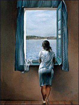 "Salvador Dalì "" Woman at the window "" Stampa poster su carta di spessore e di gr. 300 cod.60824 cm.80 x 60"