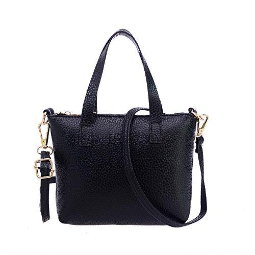 Umhängetasche Brieftasche Damen, Sunday 2018 Neues Design Reißverschluss Damenmode Handtasche Schultertasche Tote Damen Geldbörse Handtasche (Schwarz) (Leder-schlüssel-etui Italienische)