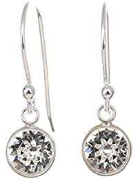 pewterhooter 925 Sterling Silver Channel fishhook earrings expertly made with sparkling Diamond White crystal from SWAROVSKI® for Women