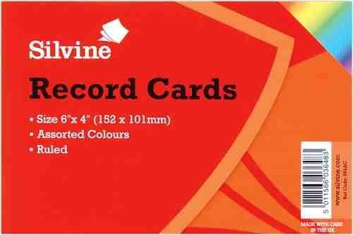 2-x-silvine-record-cards-ruled-152x101mm-pack-of-100-assorted-colours