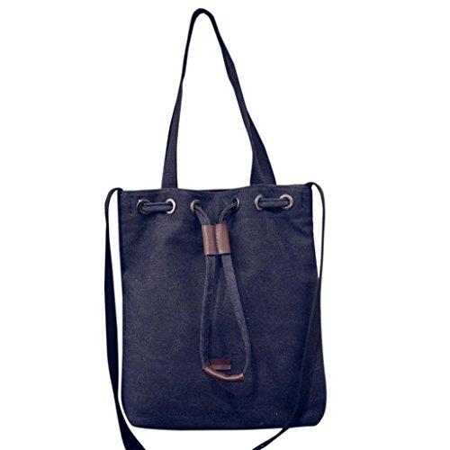 ESAILQ Toile de Mode Seau Sac à bandoulière Sac à main en toile de femmes épaule Messenger Bag Ladies Satchel Sacs fourre-tout
