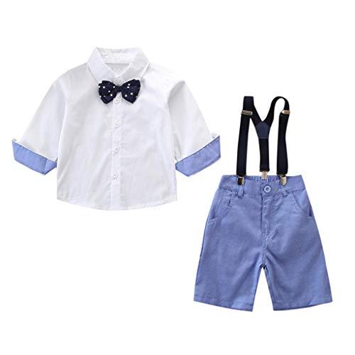 Kinder 2-7 Jahre Alter Junge Partei Kleiner Herr Gurt Normallack Langarmhemd + Shorts Abendanzug 2pc(Blau, 110)
