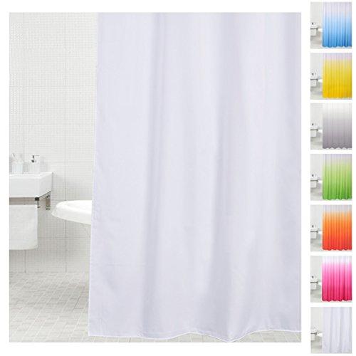 Duschvorhang, viele einfarbige Duschvorhänge zur Auswahl, hochwertige Qualität, inkl. 12 Ringe, wasserdicht, Anti-Schimmel-Effekt (180 x 180 cm, Weiß)