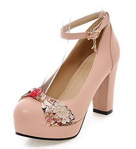 VogueZone009 Femme Boucle Pu Cuir Rond à Talon Haut Chaussures Légeres Rose