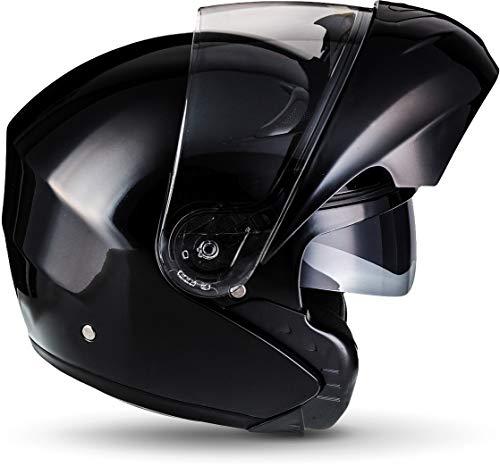 MOTO F19 Gloss Black · Roller-Helm Integral-Helm Helmet Cruiser Klapp-Helm Modular-Helm Motorrad-Helm Scooter-Helm Sturz-Helm Flip-Up-Helm · ECE zertifiziert · zwei Visiere · inkl. Stofftragetasche · Schwarz · L (59-60cm) - 3