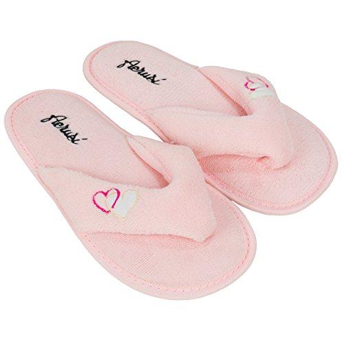 aerusi Damen Splash Spa Hausschuhe Plüschtiere Ultra leichte Weich Weich Für Haus/innen Pink - Rosa