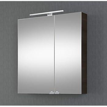 Planetmöbel Spiegelschrank Badezimmer mit LED Beleuchtung 60 cm (Wenge)
