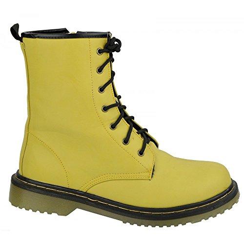Kick scarpe da donna pizzo caviglia retro da bagagliaio da donna funky vintage fangbanger martin caviglia bagagliaio Giallo (giallo)