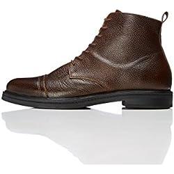FIND Botas de Cuero con Textura para Hombre, Marrón (Brown), 43 EU