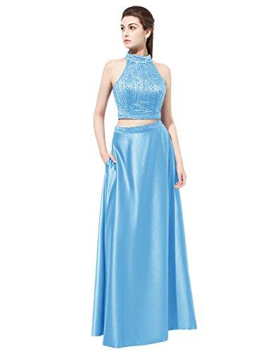 Dresstells Robe de cérémonie Robe de bal en satin emperlée deux pièces longueur ras du sol Bleu