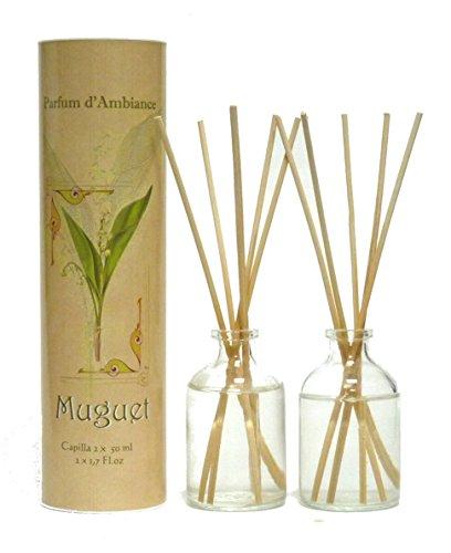 Provence et Nature: Maiglöckchen Raumbedufter (Raumduft) mit Holzstäbchen, 2 x 50 ml Glasflaschen -