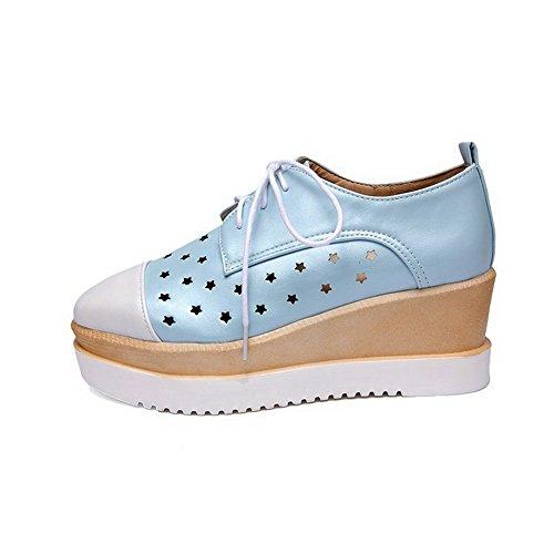 VogueZone009 Femme Pu Cuir Couleurs Mélangées Lacet Fermeture D'Orteil Carré Chaussures Légeres Bleu