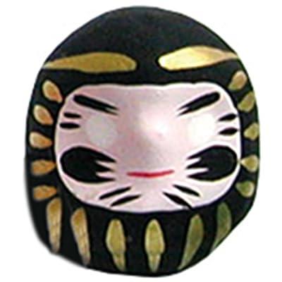Miniatura de la muñeca Daruma (amuleto de la suerte japonés), negro
