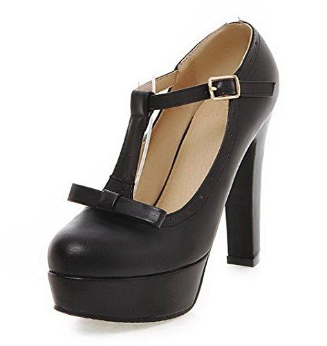 AgooLar Femme Matière Mélangee à Talon Haut Rond Couleur Unie Boucle Chaussures Légeres Noir