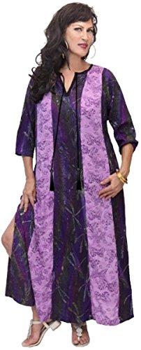 Lotustraders -  Vestito  - linea ad a - Floreale - Maniche a 3/4 - Donna Purple-Lavender