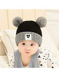Myzixuan algodón de tapón de oído 0-3 años de Edad bebé Lana Sombrero Lindo db103527afc