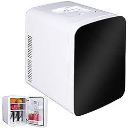 WOLTU KUE005wsz Glacière électrique Mini Réfrigérateur 15L Isotherme Chaud/Froid 12 / 220V Portable pour Voiture [Classe énergétique A ++], Noir+Blanc