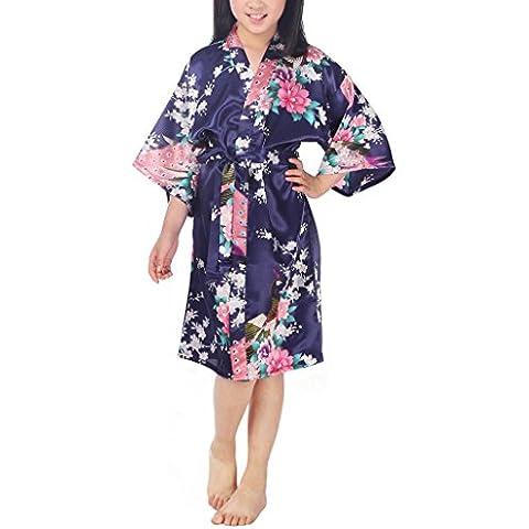 Niña Pavo Real y Flores Satén Kimono Albornoces Pijamas Lencería Lingerie Camisón Camiseta Vestido Niños Chicas Satinado Camisones Noche Vestidos Bata Ropa de Dormir, 10+ Color Opcional, 6-14