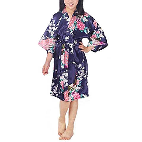 Waymoda Girls Luxury Silky Satin Evening Dressing Gown, Kids Peacock and Blossoms Pattern Kimono Robe, 10+ Color, 3-14 Year Old Sizes Optional - DarkBlue