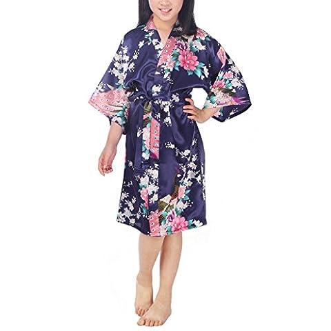 Waymoda Girls Luxury Silky Satin Evening Dressing Gown, Kids Peacock