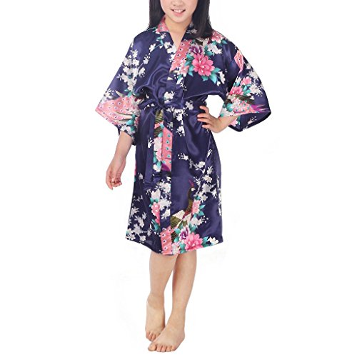 Waymoda Girls Luxury Silky Satin Evening Dressing Gown, Kids Peacock and Blossoms Pattern Kimono Robe, 10+ Color, 6-14 Year Old Sizes Optional - DarkBlue (Print Slips Screen)