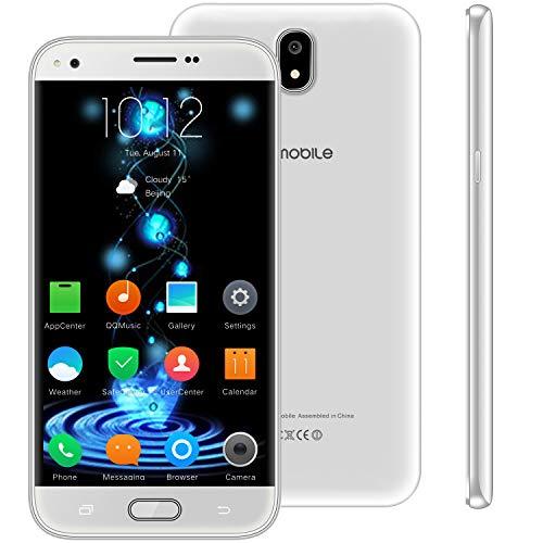 Telefono Movil Libres Baratos 4g,10Pcs V Mobile J5 5.5 Pulgadas 16GB 5MP Cámara Dual Sim Android 7,0 2800mAh Batería Smartphone 1.3GHz Quad Core WIFI GPS Bluetooth (Blanco)
