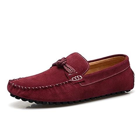 Men's Minitoo Classic Cordon de daim Walk Loafers nœud de route - Rouge - Bordeaux, 43