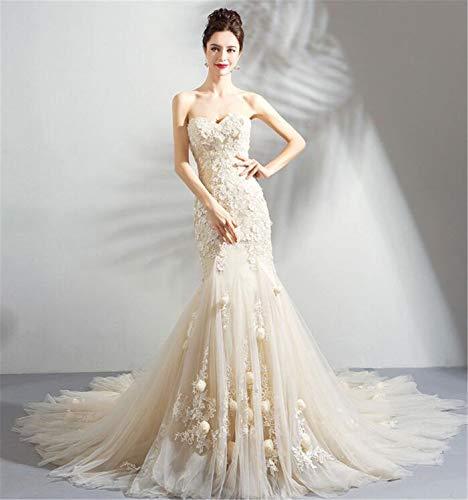 cbfbf32561ec8c LYJFSZ-7 Abito da Sposa,Elegante Abito da Sera da Donna Elegante in Pizzo