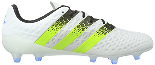 adidas Ace 16.1 Fg/Ag, Scarpe da Calcio Uomo Bianco (Ftwr White/Semi Solar Slime/Shock Blue)