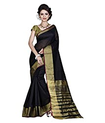 Buyonn Women's Cotton Saree (OFS103-BLACK_Black_Free Size)