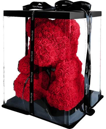 Roter Künstliche Rosenbär mit schwarzer Schleife L-33cm x B-33cm x H-40cm inklusive vor verpackter Geschenkbox - Rose bear with black bow 40 cm incl. giftbox - Flower Teddy (Rot) (Schleife)