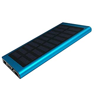 GEZICHTA Solarladegerät 20 000 mAh, 2 USB-Anschlüsse, für schnelles Laden, mit LED-Anzeige, ultradünnes, tragbares Akku-Ladegerät für alle Mobiltelefone von iPhone, Samsung Galaxy sowie iPads, PSP und andere Handys, blau