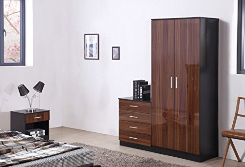 OSSOTTO HIGH GLOSS 3 Piece Bedroom Furniture Set - Includes Soft Close Wardrobe, 4 Drawer Chest & Bedside Cabinet (Walnut on Black)