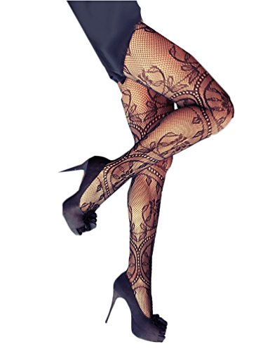 Beauts ¡¯ s-collant a rete-sexy pantyhose elegante motivo floreale black-one-size