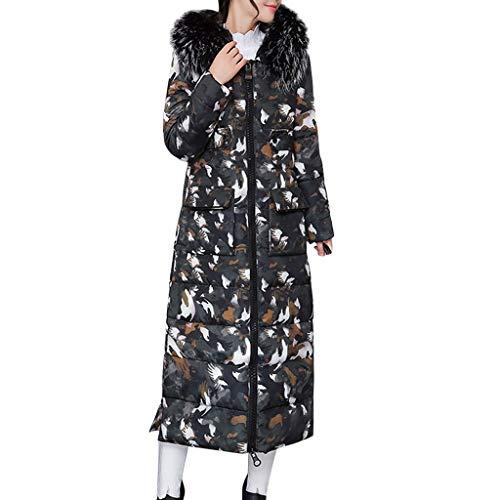 Dhyuen verdicken Outcoat für Frauen Winter warm Dicke Oberbekleidung haarkragen Zip Mantel schlank Baumwolle gepolsterte Lange Jacke mit Kapuze -