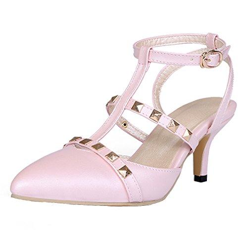 YE Damen Spitze T-spangen klein Absatz Kitten Pumps mit Nieten und Schnalle Schuhe Rosa