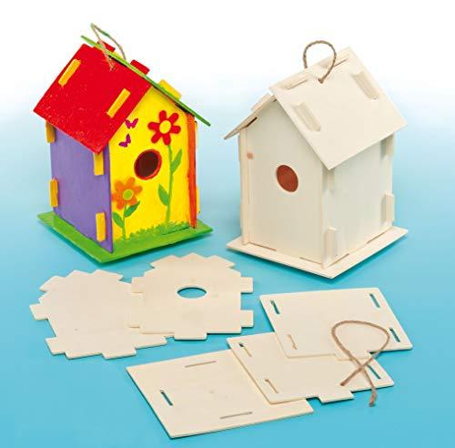 """Baker Ross Holz-Bastelsets \""""Vogelhaus\"""" - für Kinder zum Basteln und Bemalen - toll als Dekoration (2 Stück)"""