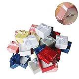 Pack de 24 Cajas para Joyas Anillo Exhibir Regalos con Inserto de Terciopelo por Kurtzy - Cajas de Presentación de 3,8 x 2,8 cm - Diseño de Lazo y Cinta- Inserto con Ranura para Anillos y Pendientes