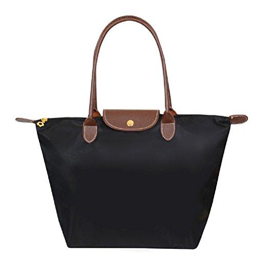 Pixnor-Bolsa-bolso-mujer-elegante-impermeable-de-Nylon-negro