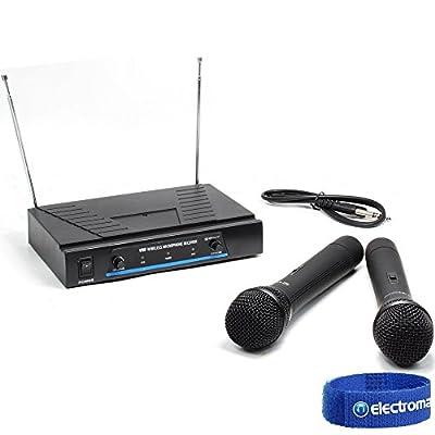QTX Dynamic Hand Held VHF Wireless DJ PA Karaoke Microphone System Set