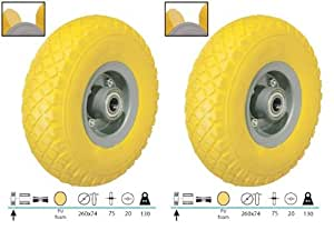 2 Stück PU Rad 260 mm für Sackkarre Pannensicher, 3.00-4