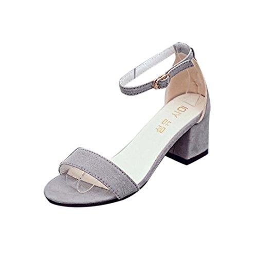 Damen Sandalen Ronamick Frauen Single Band Chunky Heel Sandale mit Knöchelriemen Sommer Sandalen Schuhe Riemchensandalen Sandaletten Pantoletten (35, Grau) -
