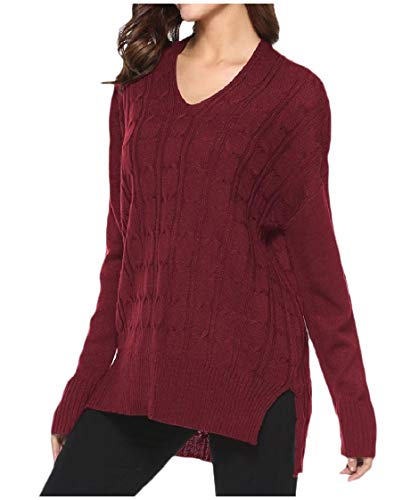 Womens V-neck Argyle Pullover (CuteRose Women Casual Relaxed Fall Winter V Neck Knit Jumper Knitting Shirt Wine Red XS)
