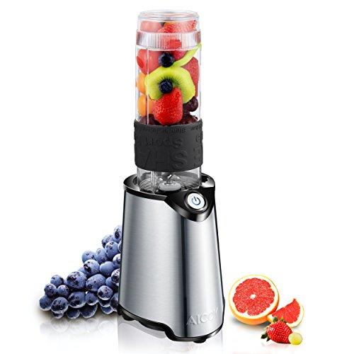 Aicok Smoothie Maker, Smoothie Maker, Mix & Go Smoothie Mini Mixer 570ml, Tritan Trinkflasche, Edelstahlmesser Entsafter und basis, 300 Watt, BPA Frei, Silber