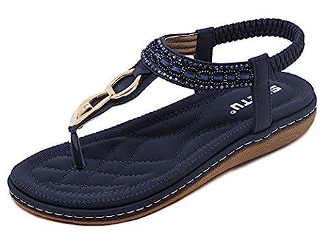 Tomsent Damen Sommer Strandschuhe Böhmische Stil Schuhe Strass Flip Flops Peep Toe Flache Sandalen Blau EU 37