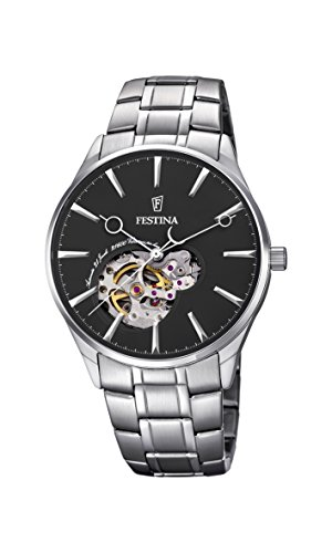 Festina Men's Automatic Watch with Black Dial Analogue Display and Silver Stainless Steel Bracelet F6847/4