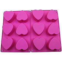 BAKER DEPOT 6 agujeros molde de silicona en forma de corazón para el chocolate, pastel, gelatina, pudding, jabón hecho a mano, juego de 2