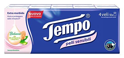 Tempo -Taschentücher, 4-lagig mit Aloe-Vera für empfindliche Haut-10Päckchen mit je 9Taschentücher.